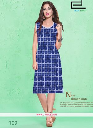 Blue Cotton Fabric Stitched Summer Kurta Collection