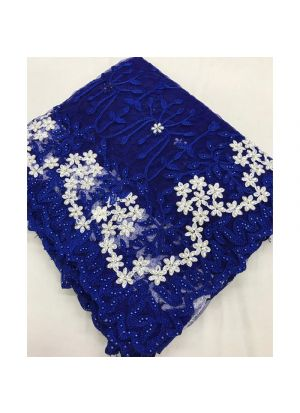 Blue Embroidered Heavy Work Traditional Net Saree