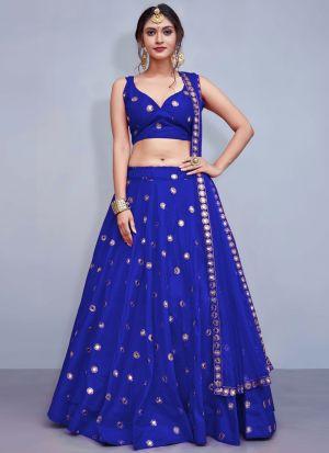 Blue Embroidered Volume 8 Bride Maids Lehenga Choli