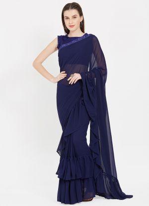 Blue Faux Georgette Stylish Designer Party Wear Fancy Ruffle Saree