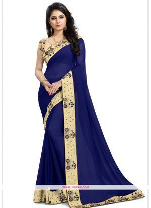 Blue Georgette Sangeet Designer Saree
