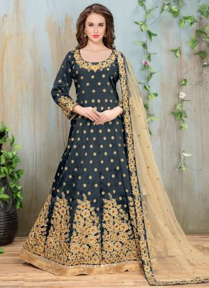 Blue Heavy Embroidery Aanaya New Design Wedding Suit