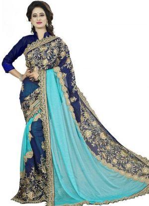 Blue Lycra Georgette Stylish Designer Party Wear Fancy Saree