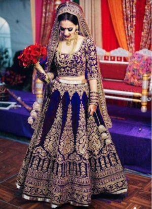 Blue Makhmal Silk Designer Bridal Lehenga Choli