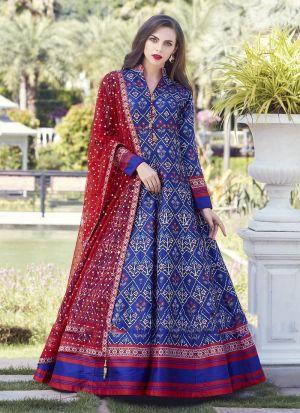 Blue Muslin Cotton Anarkali Style Flared Kurti