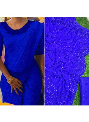 Blue Pearl Work Georgette Designer Saree