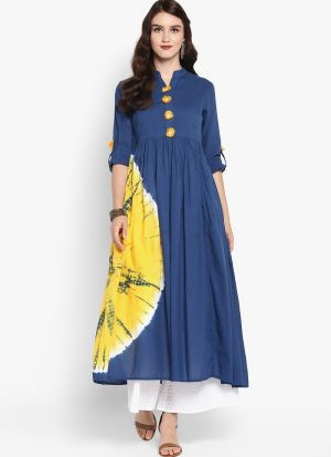 Blue Pure Cotton Designer Long Kurti
