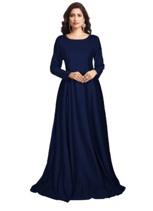 Blue Solid Long Maxi Dress