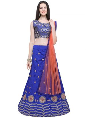 Blue Taffeta Silk Indian Wedding Lehenga Choli