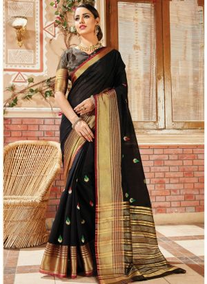 Bold And Gorgeous Black Handloom Silk Saree