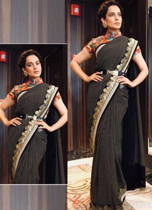 Bollywood Kangana Ranaut Print Georgette Classic Designer Saree In Black Color