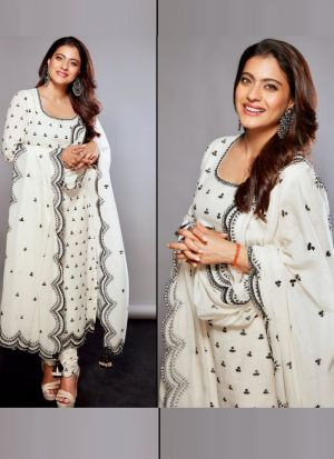Bollywood Party Wear White Thread Work Pure Cotton Salwar Suit