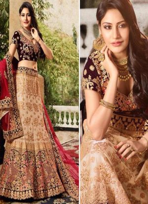 Bollywood Style Anika Chiku Thread Work And Hand Work Taffeta Silk Velvet Designer lehenga