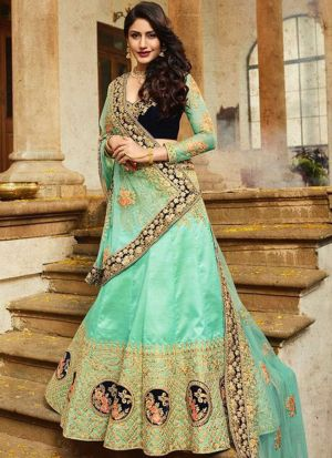 Bollywood Style Anika Rama Thread Work And Hand Work Paper Silk Designer lehenga
