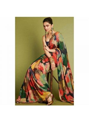 Bollywood Style Deepika Padukone Wearing In Indian Idol Show Multi Color Printed Designer Saree