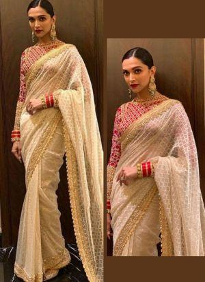 Bollywood Style Deepika Padukone White Color Georgette Saree