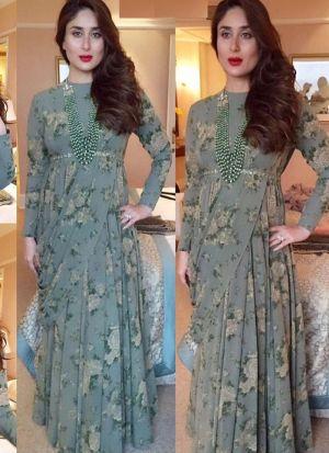 Bollywood Style Kareena Kapoor Wear Green Gown