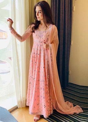 Bollywood Style Peach Colour Party Wear Gown