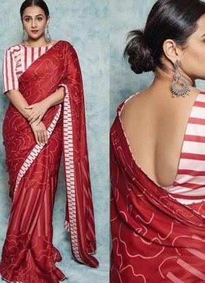 Bollywood Style Vidhya Balan Red Saree