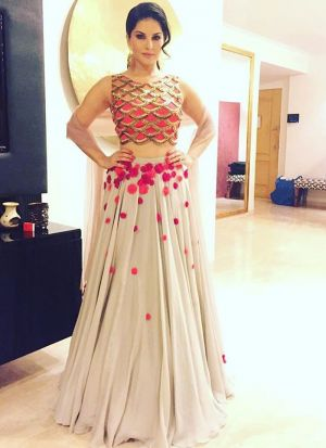 Bollywood Sunny Leone Hand Work Zari Georgette Party Wear Lehenga Choli In Off White Colour