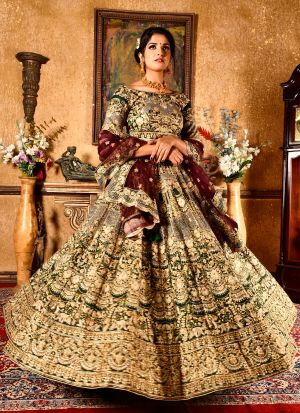 Botal Green Chennai Silk Wedding Bridal Lehenga Choli With Soft Net Dupatta