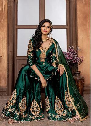 Bottle Green Malai Satin Sharara Style Salwar Suit