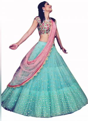 Bottle Green Ruffle Lehenga Choli