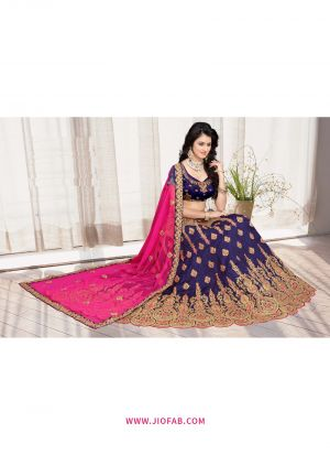 Bridal Blue Semi Stitched Chaniya Choli