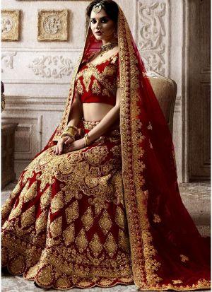 Bridal Maroon Kerala Silk Embroidered Lehenga Choli With Mono Net Dupatta