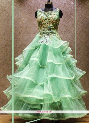 Bridal Net Seafoam Color Designer Anarkali Gown Collection