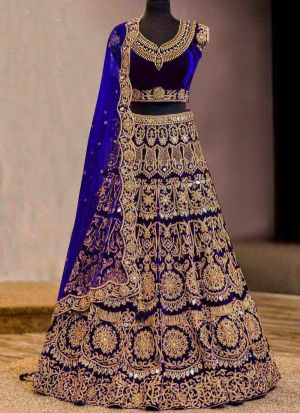 Bridal Royal Blue Pure Velvet Embroidered Lehenga Choli With Mono Net Dupatta