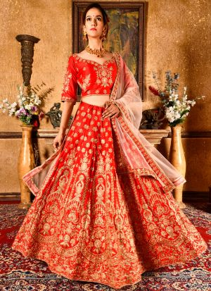 Bride Red Velvet Silk Indian Wedding Lehenga Choli With Soft Net Dupatta