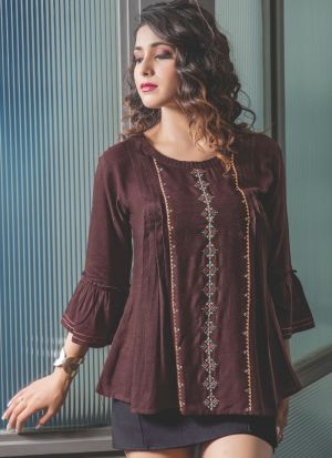 Brown Colour Ethnic Top With Beautiful Embroidery