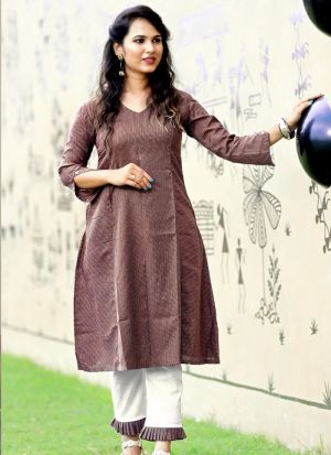 Brown Cotton Causal Wear Pant Style Salwar Suit