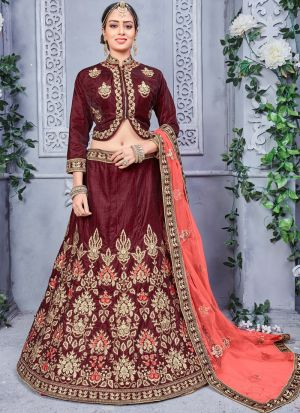 Brown Designer Wedding Lehenga Choli With Two Tone Velvet Fabric