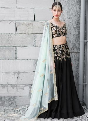 Buy Festive Wear Black Sequence Work Lehenga Choli