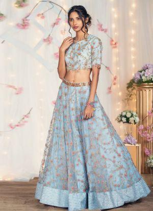 Buy Festive Wear Naylon Net Sky Blue Lehenga Choli
