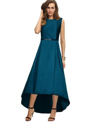 C Green Taffeta Sleeveless Gown