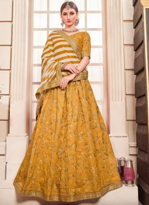 Canary Yellow Designer Bridesmaid Lehenga Choli With Phantom Silk Fabric