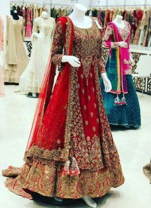 Candy Red Faux Georgette Bridal Lehenga Choli For Wedding