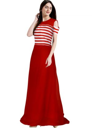 Cap Sleeve Red Evening Gown
