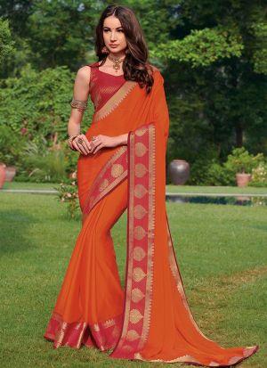 Capricious Design  Chiffon Festive Wear Orange Saree