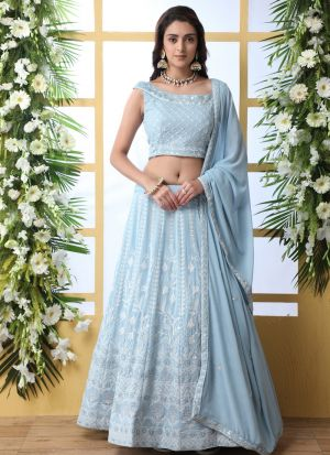 Capricious Sky Blue Embroidered Work Lehenga Choli