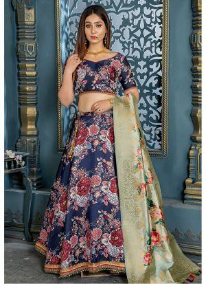 Carbon Blue Jacquard Designer Lehenga Choli