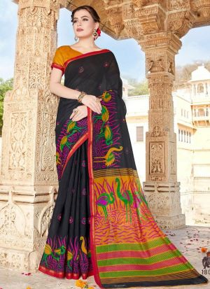 Casual Black Cotton Printed Saree