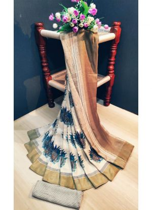 Casual Multi Color Pashmina Silk Printed Saree With Blouse Piece