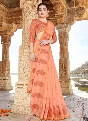Casual Peach Cotton Printed Saree