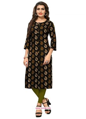 Casual Wear Black Rayon Printed Simple Kurti