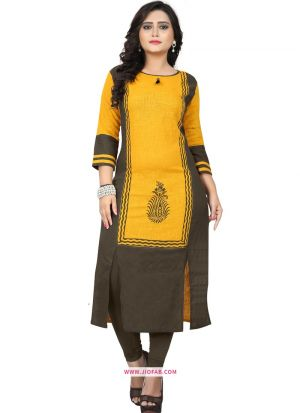 Casual Wear Yellow Slub Cotton Printed Simple Kurti