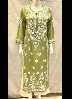 Causal Wear Chain Stitch Green Salwar Suit